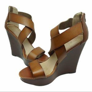 Aldo High Wedge Tan Strappy Sandals Size 0